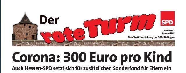 Bild der Titelseite vom ROTEN TURM, der Zeitung der SPD Büdingen